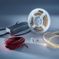 Starter-Kit LumiFlex COB LED Strip with continuous light warm white CRI90 2700K 5690lm 24V 5m reel with driver and dimmer