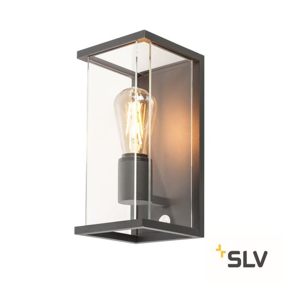 SLV Outdoor Wall Light QUADRULO SENSOR with Motion Detector anthracite IP44