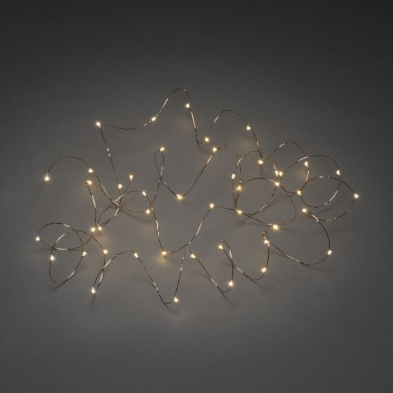 LED Micro Chain of Lights amber, 10m (50 LEDs), copper