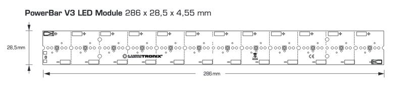 PowerBar UVA LED Module, up to 16W UVA output, 31W power intput, 12 Nichia LEDS
