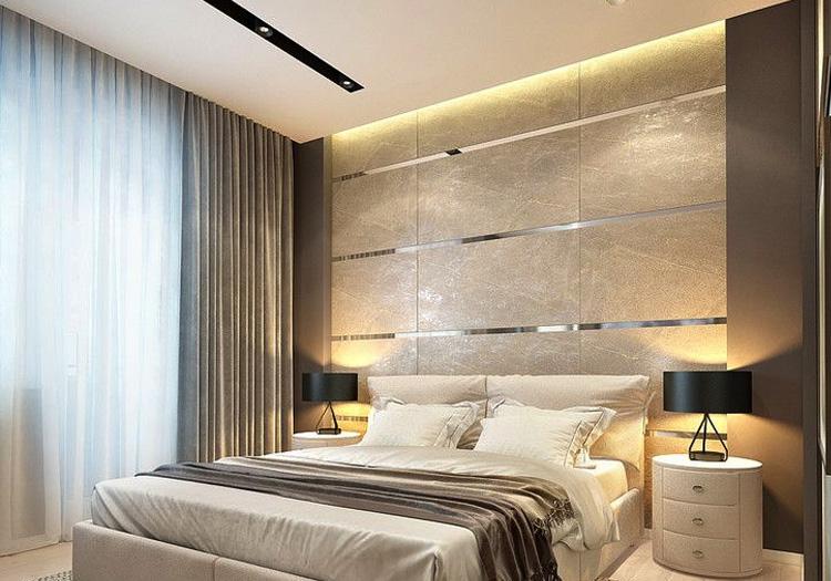 Bedroom with downlighting via Nichia Lumistrips in cove lights