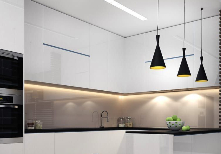 Kitchen with lines of light via Lumistrips LED strips in under cabinet and ceiling